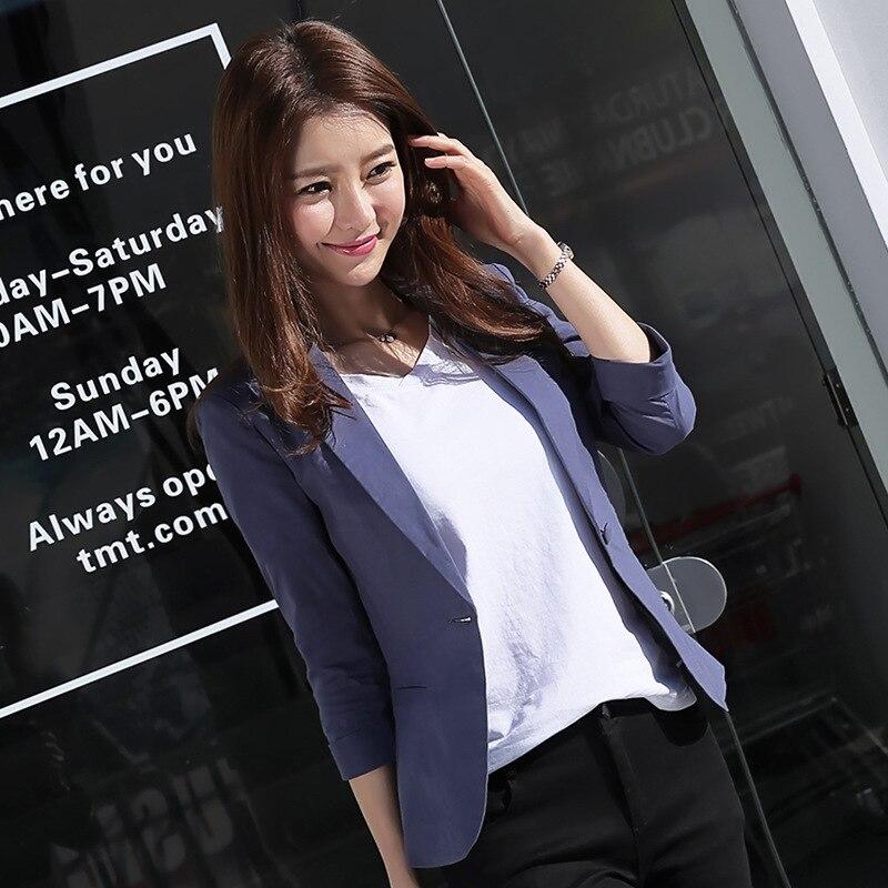2019 New Spring Korean Leisure Suit Slim Women OL Office Lady Cotton Linen Blazer Jacket in Blazers from Women 39 s Clothing