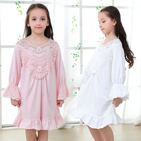 Fashion Mother and Daughter Clothes Family Pajamas Full Cotton for Girls Nightdress Princess Retro Pajamas for Children Clothing