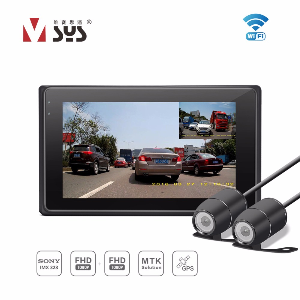 SYS M2F WiFi Dual 1080P Full HD Motorcycle DVR Lens Camera 170 Degree Wide Waterproof Lens Dash Cam GPS Tracker VSYS Recorder vsys motorcycle dvr 3 0 x2 upgrade m2f wifi real fhd dual 1080p motorcycle camera dash cam front