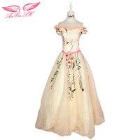 AnXin SH Pink Flower Lace Evening Dress Ruffles Boat Neck Turkey Rose Princess Luxury Pink Lace