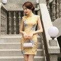 New Arrival Chinese Style Vintage Short Dress Women Cotton Linen Print Qipao Summer Casual Sexy Cheongsam S M L XL XXL