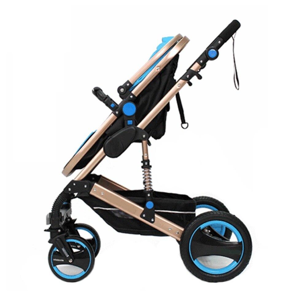 Детская коляска, ультра легкая, складывающаяся, резиновая, четыре колеса, может сидеть, лежа, ударная тележка - 4