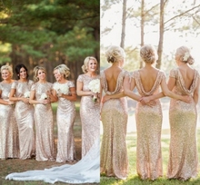 Champagne Gold Sequin Bridesmaid Dresses 2015 Fashionable Cap Sleeve Long Prom Dresses vestido de festa