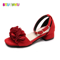 Pink High Heels For Girls Flowers Sandals Kids Leather Shoes Baby Girl Wedding Party Shoes Children