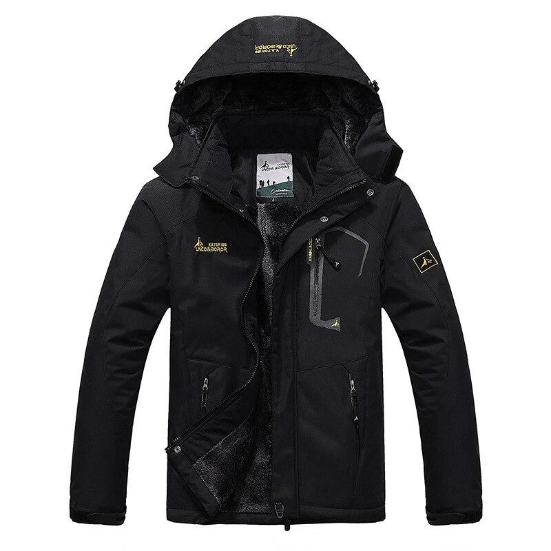 Plus Size Men s Winter Inner Fleece Waterproof Ski Jacket Outdoor Sport Warm Coat Hiking Camping