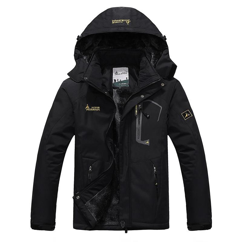 Plus Size Men's Winter Inner Fleece Waterproof Ski Jacket Outdoor Sport Warm Snow Coat Hiking Camping Trekking Snowboard Jackets