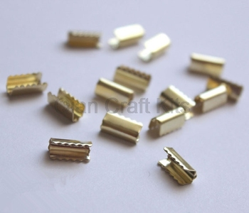 цена на 100pcs DIY Hair Ponytail Holder Pinch Crimps Connectors in Silver /Brass Tone Crimps for DIY Accessory and Jewelry