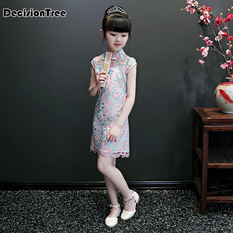 2019 new girls embrodeiry floral qipao dress chinese style costume girl party wear lace cheongsam kids prom gown formal dress