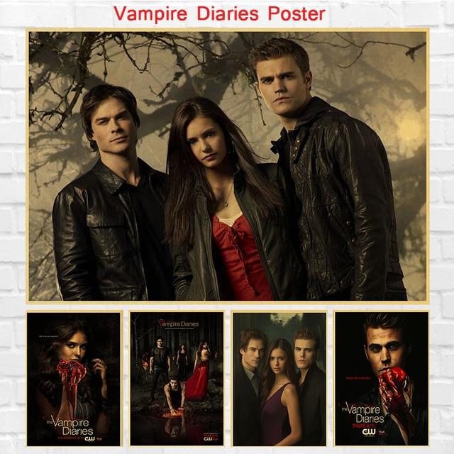 Vintage Tv Movie Series The Vampire Diaries Poster Retro Painting Home Room Decor Kraft Paper Wall Stickers