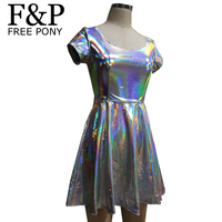Summer Silver Holographic Skater Dress Women Music Festival Rave Dress Clothes Outfits Gold Vintage Boho Dresses