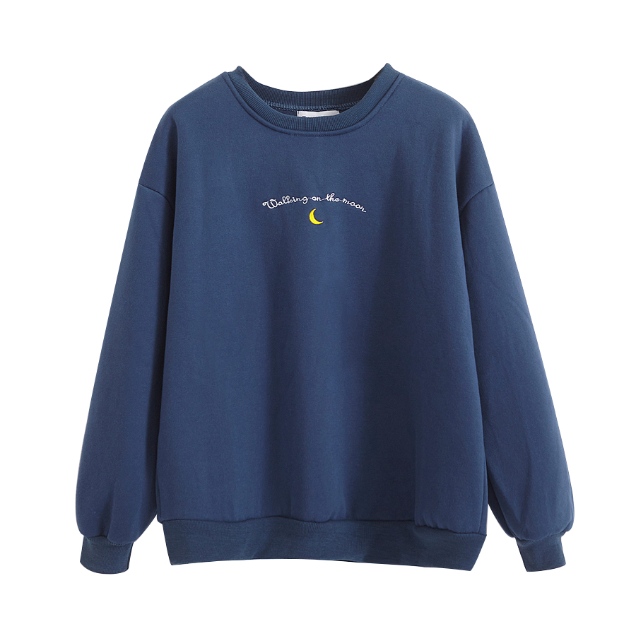 2019 Women's Tunic Japan Harajuku Ulzzang Sweatshirts Letter Moon Embroidery Velvet Sweatshirt Female Korean Kawaii Top Women