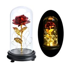 Rose In Flask Beauty And The Beast Gold-plated Red Rose With LED Light In Glass Dome For Wedding Party Mother's Day Gift(China)