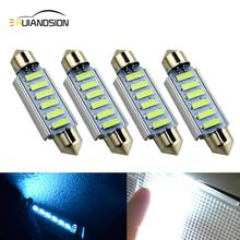 4pcs Glace bleue Voiture Led Festoon 44mm led dome lumiere 6SMD 7014 LED CANBUS De Interieur c5w Ampoules Feux