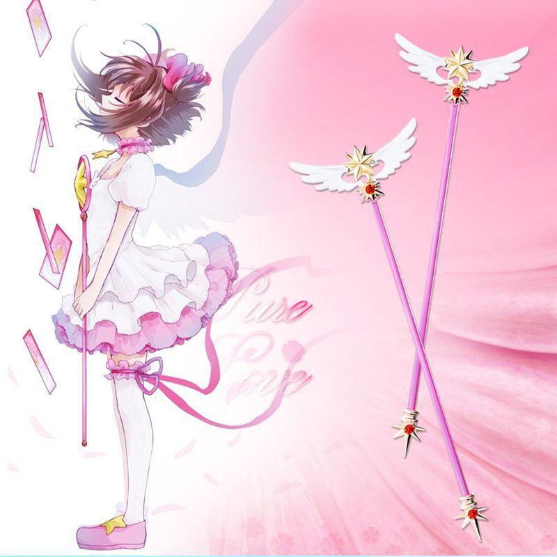 Anime Card Captor Sakura Clear Card Kinomoto Wings Model Mini Magic Wand Cosplay Toy Fans Gift Collection cardcaptor sakura kinomoto sakura clear card version 19cm anime model figure collection decoration toy gift