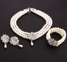Audrey Hepburn Breakfast at Tiffanys 1950s Costume Jewelry Accessory Set Pearl Necklace Earring Bracelet Lady costume accessory(China)