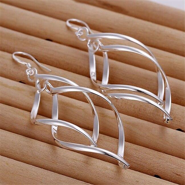 ESE168 Großhandel silber überzogene ohrringe, fabrik preis 925 gestempelt modeschmuck Doppel Plantain Leaf Ohrringe