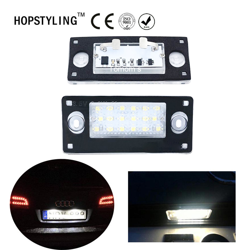 2Pcs 6500K Xenon white Car LED License Plate Lights 12V SMD3528 Number Plate Lamp Bulb Kit For AUDI RS4 B5 A3 A4/S4 Avant 2001 cawanerl car canbus led package kit 2835 smd white interior dome map cargo license plate light for audi tt tts 8j 2007 2012