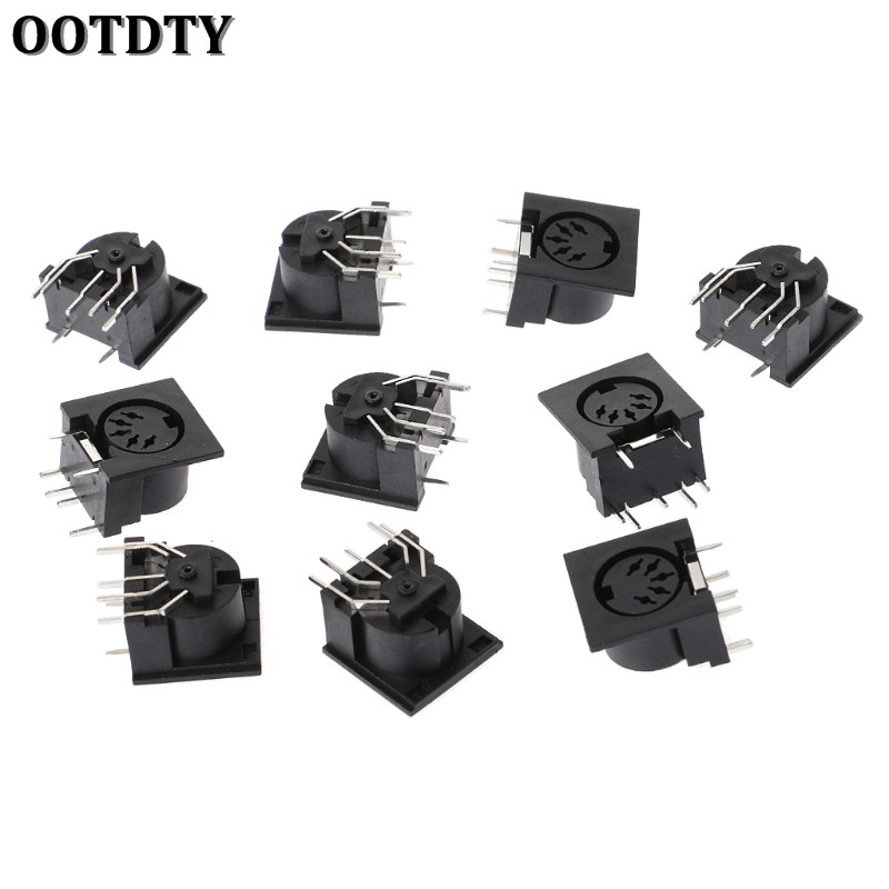 OOTDTY 10 Pcs/Set PCB Panel Mount Female Connector DIN5 DIN 5-Pin Jack DS-5-01 MIDI