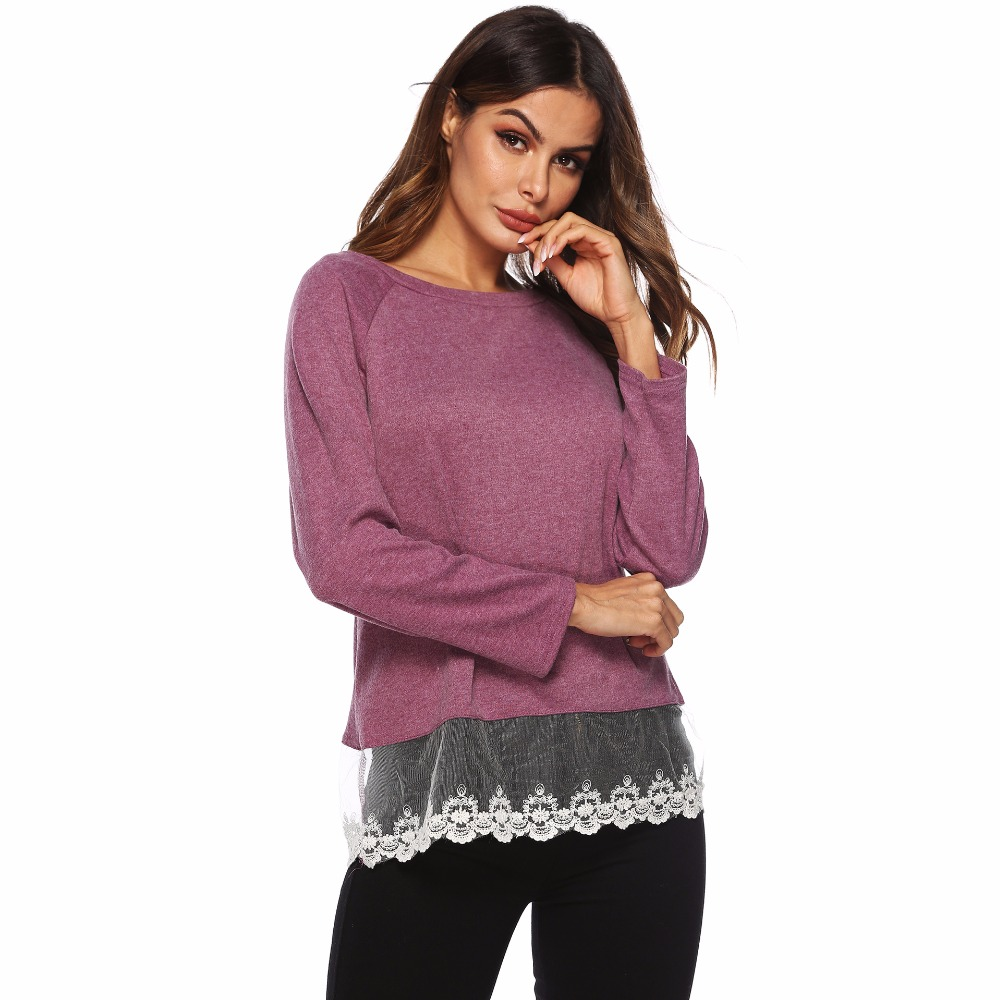 PGSD New Simple fashion Women 39 s clothes Lace splicing Pure color Round collar Long sleeves Straight cylinder type Urban leisure in T Shirts from Women 39 s Clothing