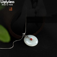 Uglyless Real 925 Sterling Silver Natural Jade Button Pendant without Necklaces Women Vintage Ethnic Fine Jewelry Emerald Bijoux