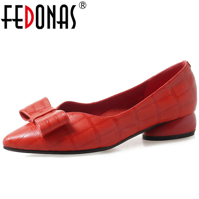FEDONAS Fashion Cute Bowtie Party Wedding Shoes Woman Thick High Heels Slip On Spring Summer Prom Pumps Ladies Basic Pumps