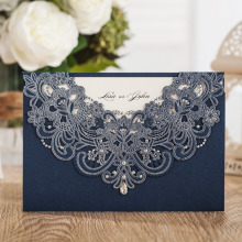 WISHMADE Laser Cut Lace Flora Wedding Invitations Cards with Rhinestone Navy Blue Invites for Birthday Baby Shower Engagement