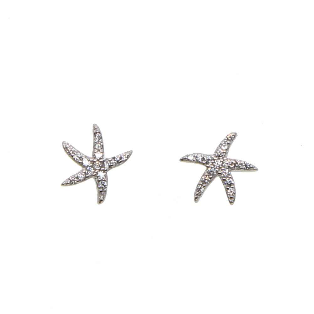 Hot Sale 100% 925 Sterling Silver Star Tropical Starfish Stud Earrings for girl lady, Clear CZ Fashion Jewelry