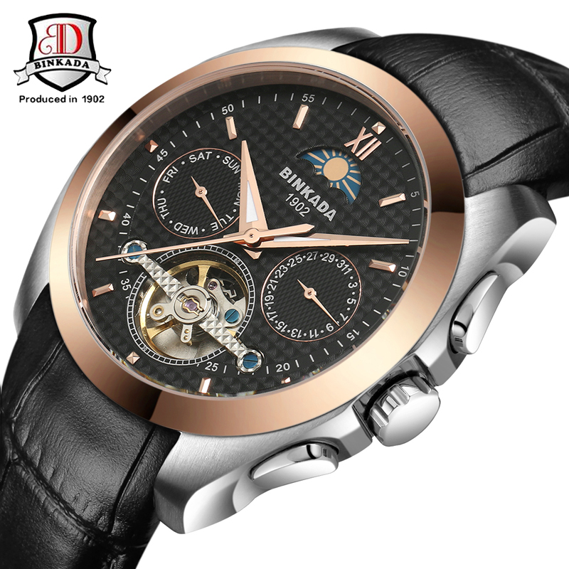 BINKADA Watches Classic Mens AUTO Date automatic Mechanical Watch Self-Winding Analog Skeleton Black Leather Man Wristwatch бра mw light барселона 313022202