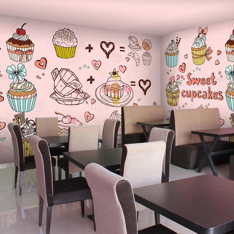 Cartoon Desert Bakery Pizza Cupcake Shop Custom Wallpaper Mural