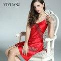 100% Genuine Silk Nightgowns Feminino Upscale Camisola de Verão Sexy Sem Mangas de Renda Com Decote Em V de Seda Real Cetim Sleepwear D33101