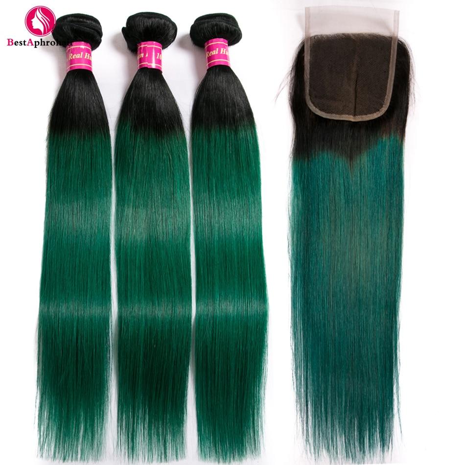 Aphro Hair Brazilian Hair Weave Bundles With Closure T1B Green Straight Hair Bundles With Closure Non