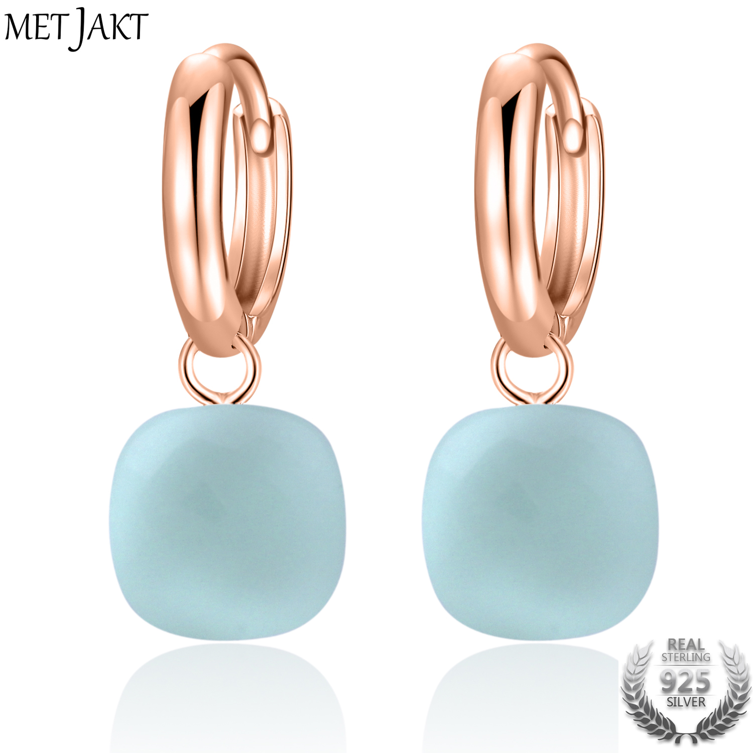 MetJakt Casual Natural Sky Blue Agate Earrings Solid 925 Sterling Silver and Rose Gold Color Earring