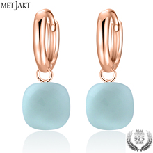 MetJakt Casual Natural Sky Blue Agate Earrings Solid 925 Sterling Silver and Rose Gold Color Earring for Wedding Women Gift