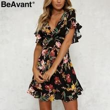 BeAvant v-образным вырезом оборками сексуальное платье Женщины Boho цветочным принтом пляжное платье Лето 2018 элегантные пояса Короткое Платье vestidos женский