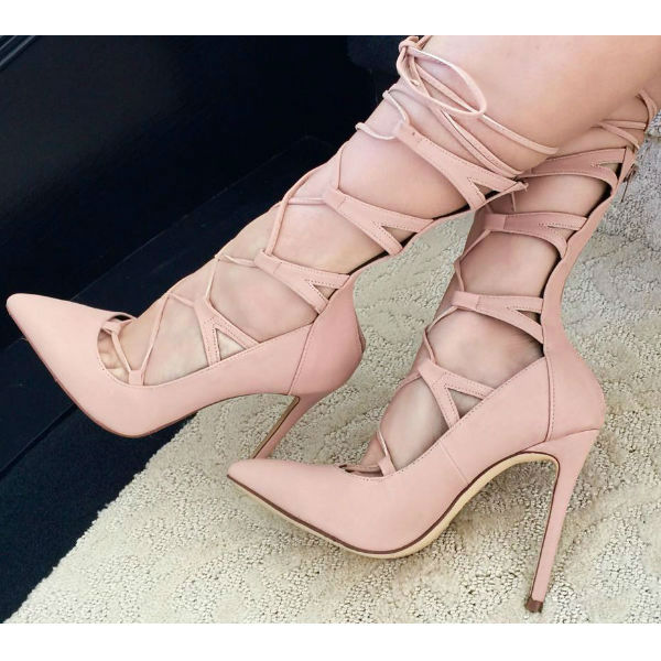 women gorgeous red suede String Lace Up Tie Ankle High Heel pumps pointed toe single sole heel high cut sandal booties
