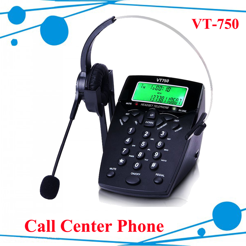 Call center telephone VT750 with Call center headset DHL free shipping free цены онлайн