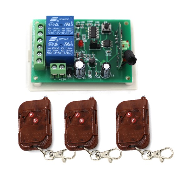 12V 10A 2CH wireless switch system receiver kit board and smart home automation system remote controller Fixed code SKU: 5076 a proposed wavenet identifier and controller system