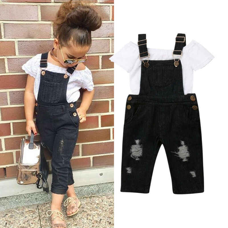 Toddler Kid Baby Girls Clothes Sets White Lace Tops Bib Pants Jeans 2PCS Outfits Clothes Summer