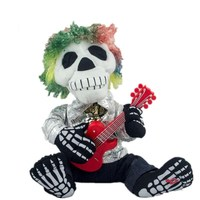 28cm Explosion head guitar ghost Electric plush doll toy Kids Halloween creative funny toys mouth will move singing rag dolls