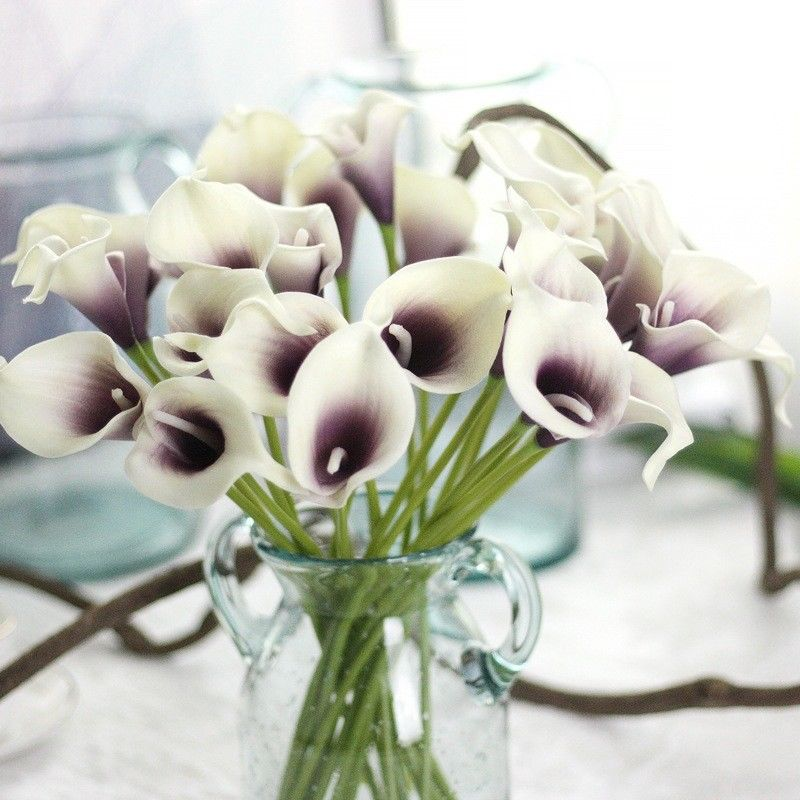 H&D 10pcs Real Touch Artificial Flowers Wedding Decorative Flowers Calla Lily Fake Flowers Wedding Party Decoration Accessories
