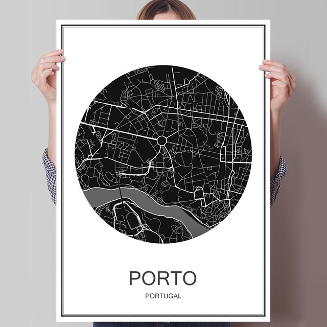 Porto world city map modern oil painting poster canvas coated paper porto world city map modern oil painting poster canvas coated paper abstract cafe decor living room gumiabroncs Image collections