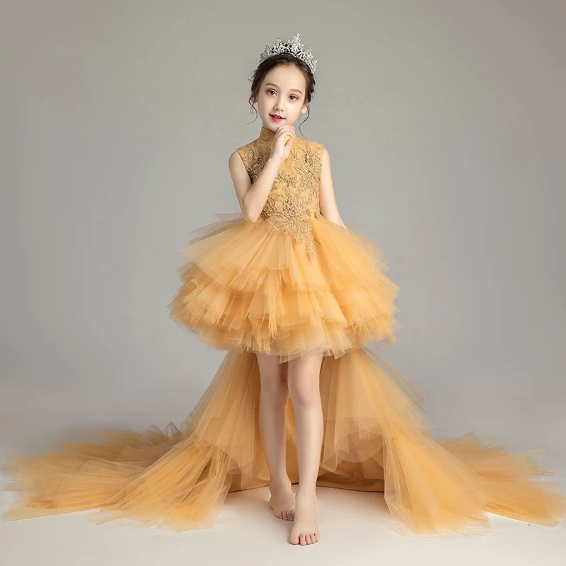 2018 Summer New Chinese Traditional Standing-Collar Children Girls Birthday Wedding Party Long Mesh Tail Dress Baby Kids Dress2018 Summer New Chinese Traditional Standing-Collar Children Girls Birthday Wedding Party Long Mesh Tail Dress Baby Kids Dress