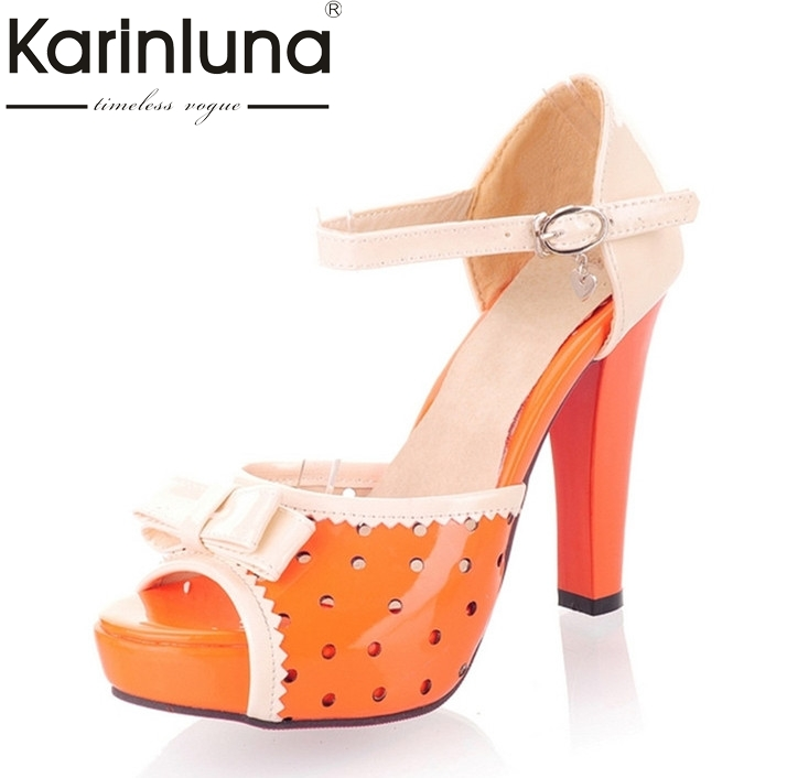 Sandals Sweet Style Shoes Women Mixed Colors With Butterfly-knot Peep Toe Platform High Heels women shoes Ladies Shoes 3 Colors sweet women s sandals with peep toe and faux pearls design