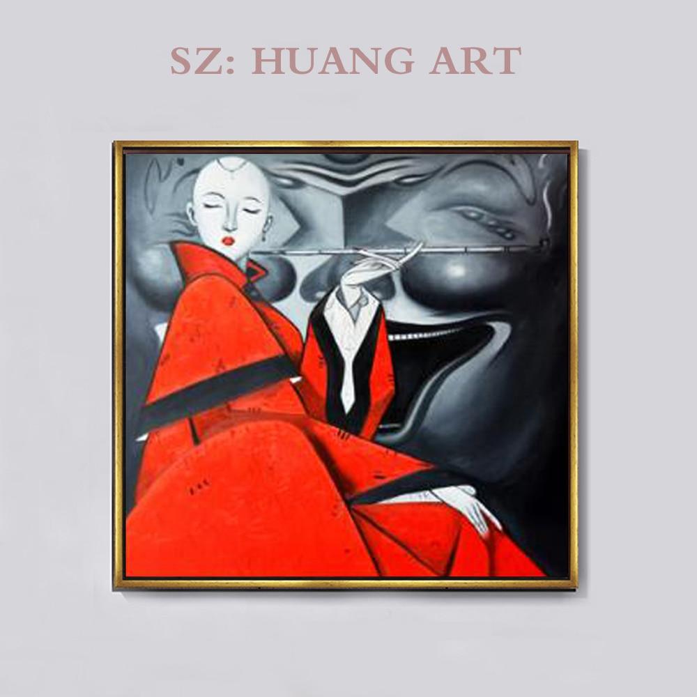 Un célèbre peintre chinois, meublé la maison avec une figure de beauté à baldaquin sexy peinture à l'huile et des hôtels modernes
