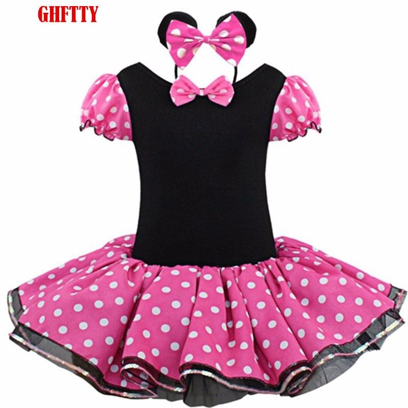Baby Girl Dresses For Girls Myszka Minnie Party Fancy Kostium Cosplay Dziewczyna Balet Tutu Sukienka + Opaska na ucho Dziewczyna Polka Dot Odzież