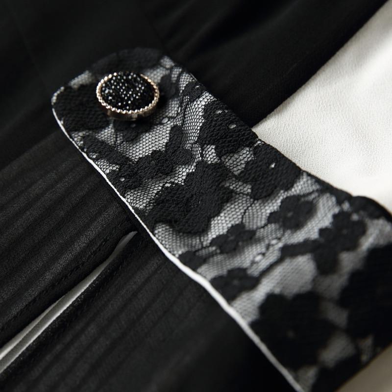 Vestito Chiffon Nuovo Europeo Bianco Di Mid Americano 2018 Nero Moda E Splicing Picture Donne Abiti Colore Disegno Color Estate Contratto Delle dwx7Wq0aX