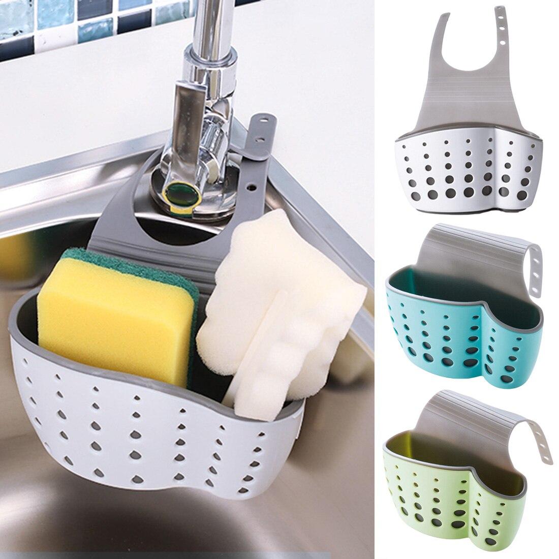 Suction Cup Sink Shelf Soap Sponge Drain Rack Bathroom Sucker Storage Holder Kitchen Storage Organizer Tool Blue Green White