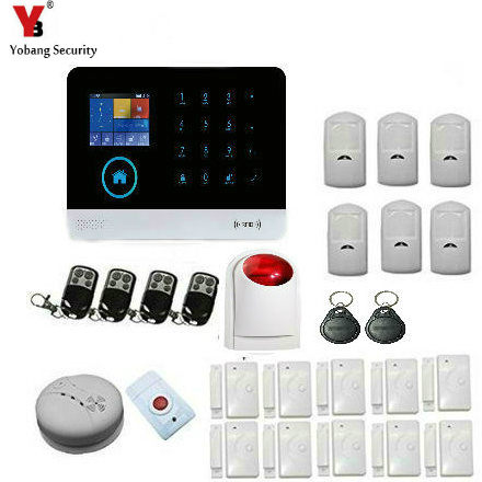 YobangSecurity Touch Keypad Wireless RFID WIFI GSM Autodial Call APP Home Office Security Burglar Intruder Outdoor Siren Alarm kerui black white intelligent wireless gms sms call home burglar intruder ios android app security alarm system touch keypad