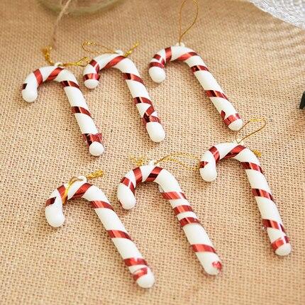 Рождественские подарки Включите мини костыли Рождество елка украшения кулон 6 шт./Ba ...