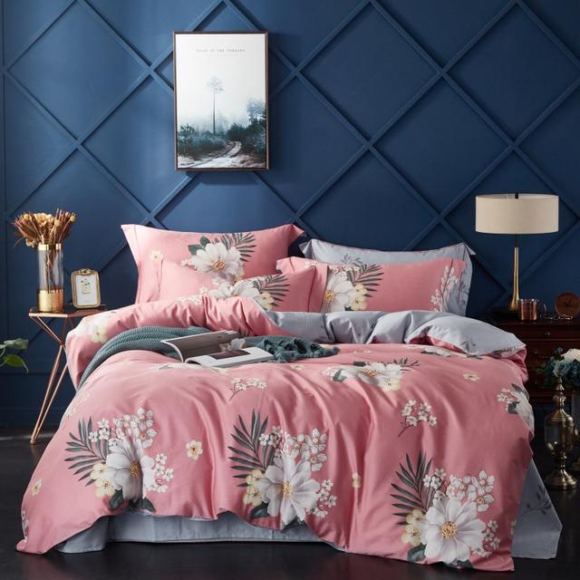 2019 Egyptian Cotton Bedding Set New Printed Bed Set Comforter Bedding Sets Duvet Cover+BedSheet+Pillowcases M-Series Pink Paris